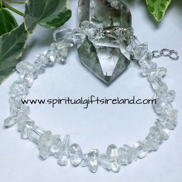 Clear Quartz Gemstone Crystal Chip Harmony Bracelet