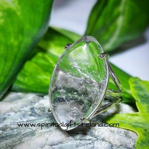 Clear Quartz Ring Adjustable Diamond Cut
