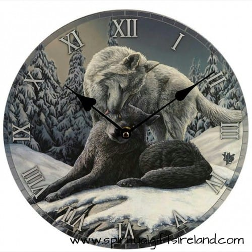Guardian of the Forest Snow Wolf Kisses Wall Clock