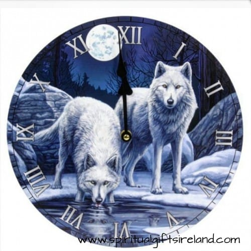 Guardian of the Forest Snow Wolf Warriors Wall Clock