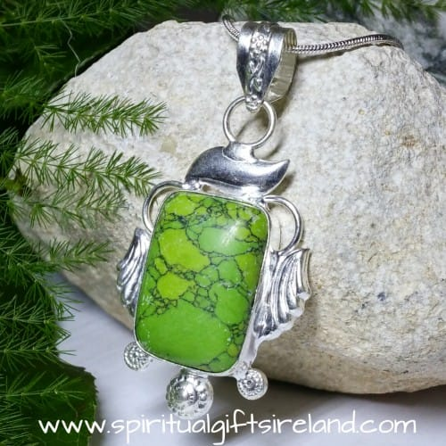 Lime Green Turquoise Crystal Gemstone Pendant