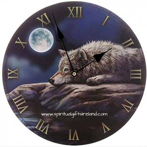 Moon Wolf Wall Clock Lisa Parker