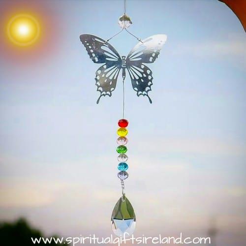 Rainbow Butterfly Crystal Swarovski Hanging Suncatcher