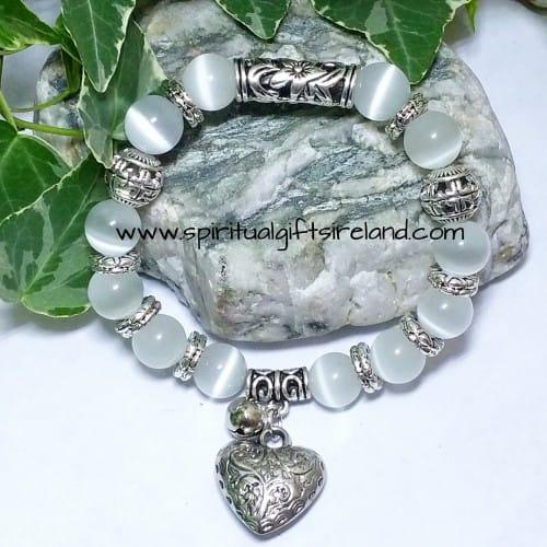 White Jade Heart Gemstone Crystal Bracelet (2)