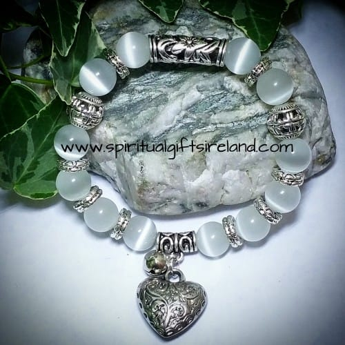 White Jade Heart Gemstone Crystal Bracelet (3)