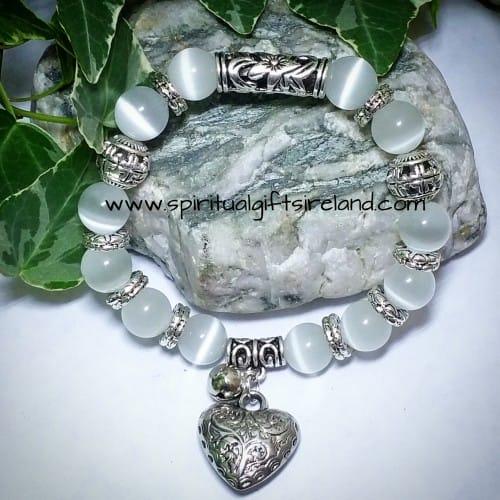 White Jade Heart Gemstone Crystal Bracelet (4)