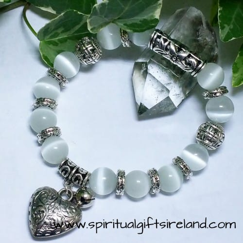 White Jade Heart Gemstone Crystal Bracelet