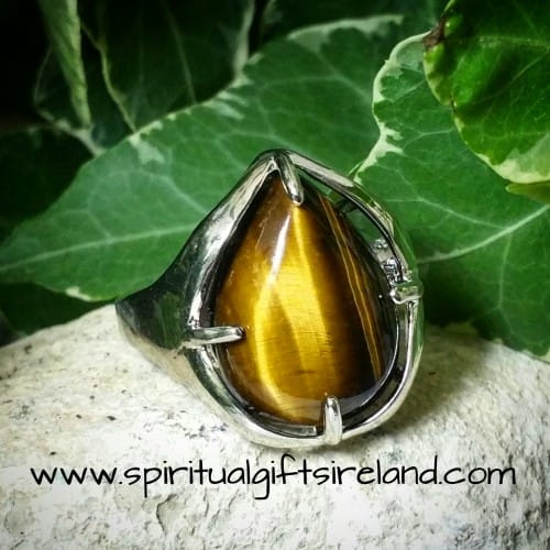 Tigers Eye Gemstone Crystal Ring Adjustable Size
