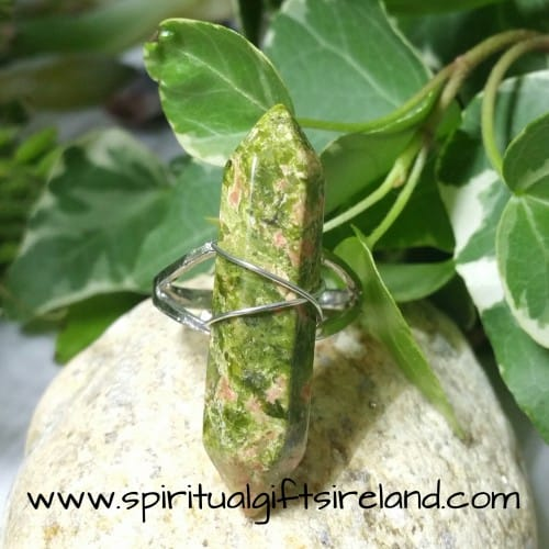 Unakite Double Terminated Crystal Gemstone Ring Adjustable Size (2)