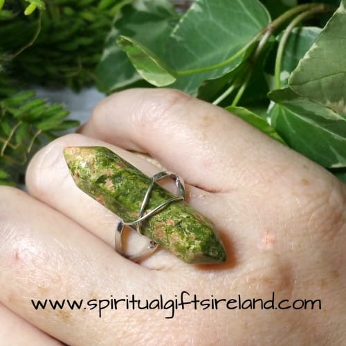 Unakite Double Terminated Crystal Gemstone Ring Adjustable Size (4)