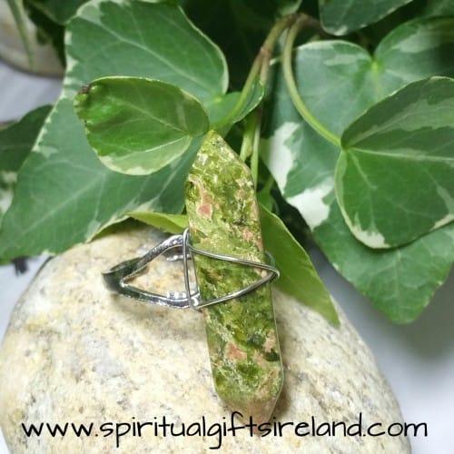 Unakite Double Terminated Crystal Gemstone Ring Adjustable Size (6)