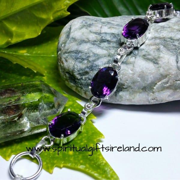 Amethyst Handcrafted Sterling Silver Crystal Gemstone Bracelet