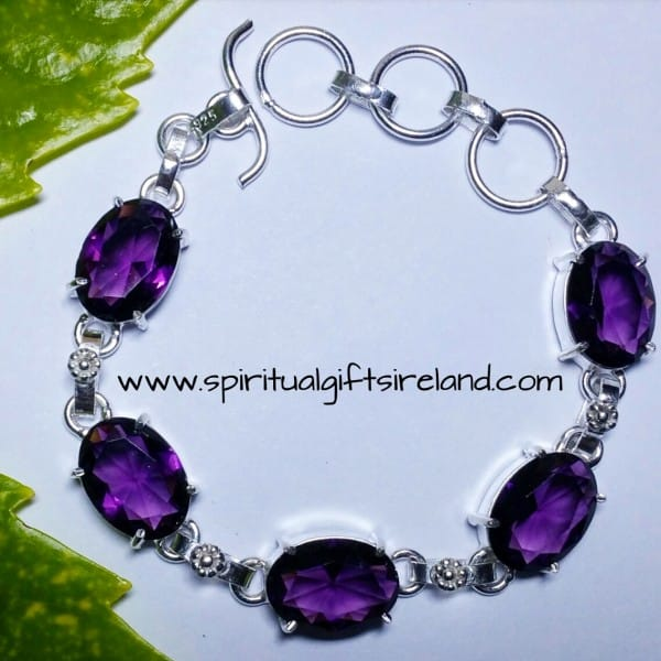 Amethyst Sterling Silver Crystal Bracelet