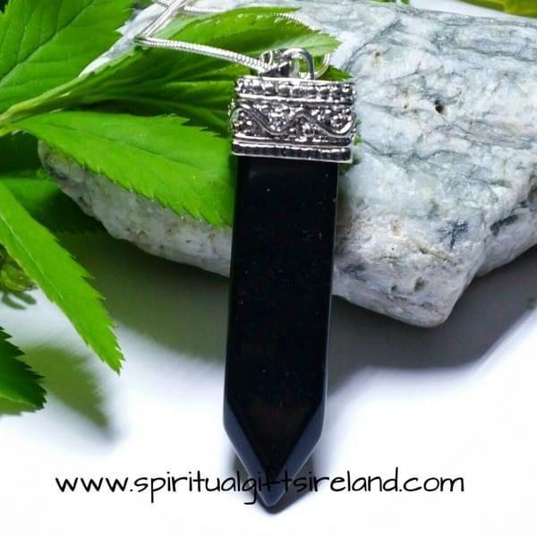 Black Agate Terminated Chakra Wand Pendant