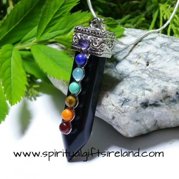 Black Agate Necklace Chakra Wand