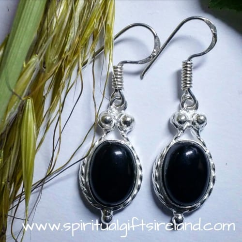 Black Onyx Crystal Gemstone Earrings Sterling Silver