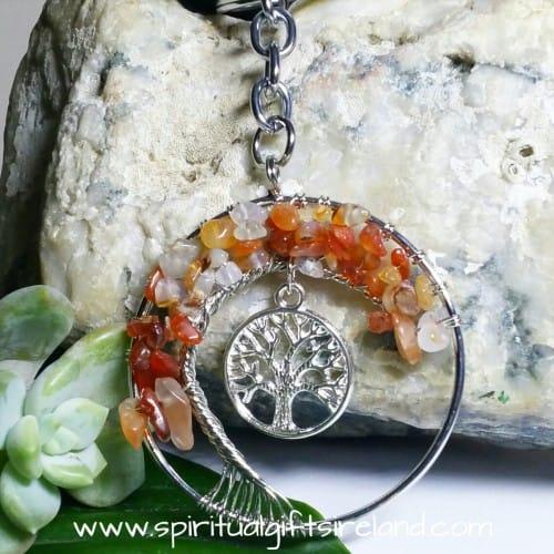 Carnelian Tree of Life Gemstone Crystal Keyring Keychain (2)