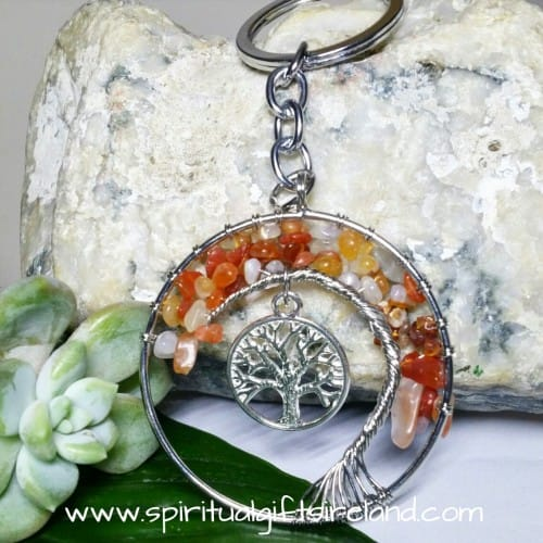 Carnelian Tree of Life Gemstone Crystal Keyring Keychain (3)