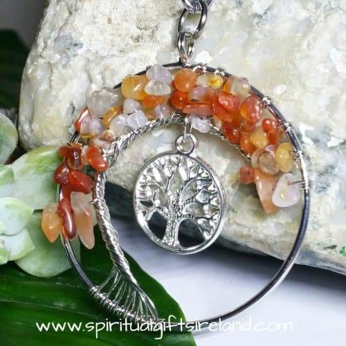 Carnelian Tree of Life Gemstone Crystal Keyring Keychain (4)