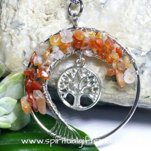 Carnelian Tree of Life Gemstone Crystal Keyring Keychain