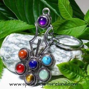 Chakra Stone Sacred Geometry Keyring Keychain