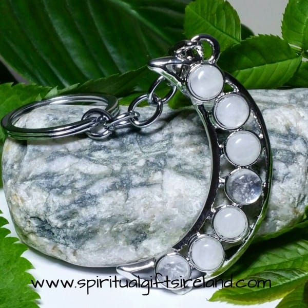 Clear Quartz Crystal Gemstone Moon Crescent Keychain Keyring