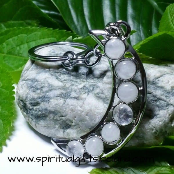 Clear Quartz Crystal Moon Crescent Keyring