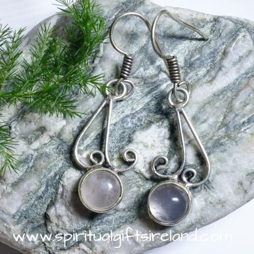 Clear Quartz Globes Sterling Silver Gemstone Earrings