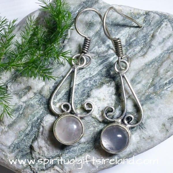 Clear Quartz Globes Sterling Silver Gemstone Earrings