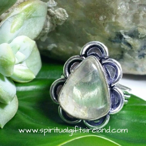 Clear Quartz Golden Rutile Crystal Gemstone Sterling Silver Ring