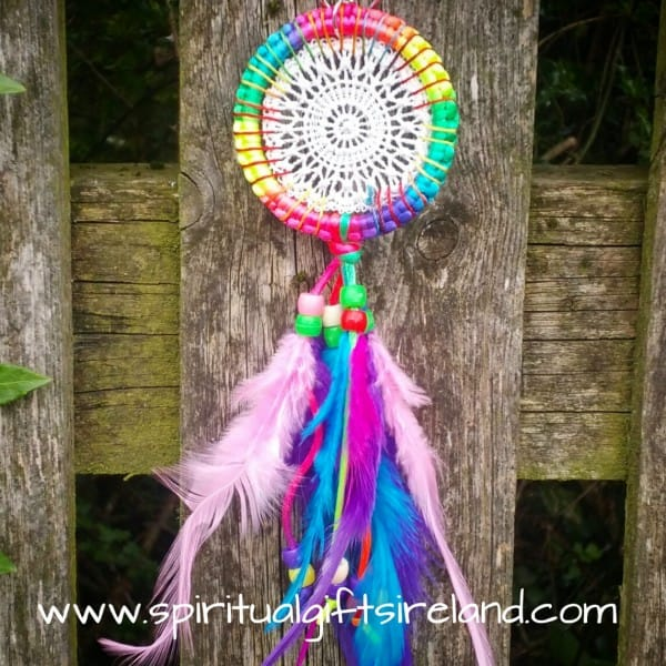Crocheted Vibrant Rainbow Dreamcatcher