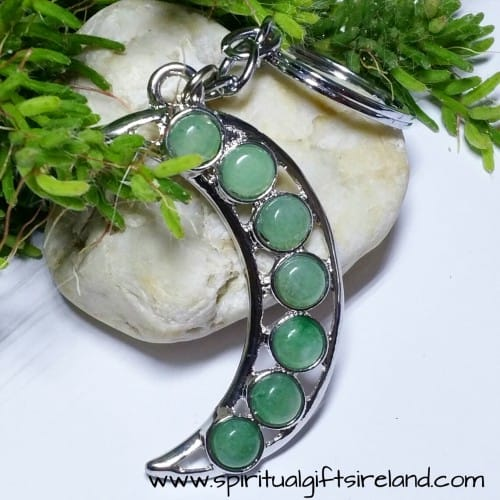 Green Aventurine Crystal Moon Keyring