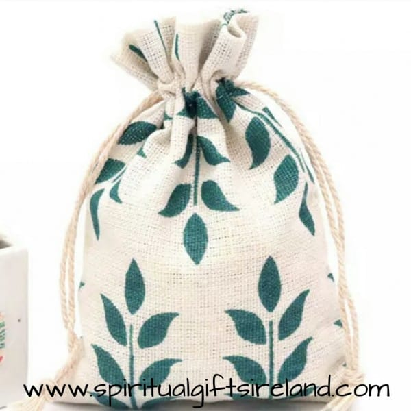 Green Leaves Print 100% Recycled Cotton Drawstring Pouches