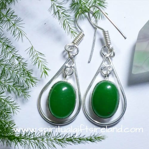 Green Onyx Crystal Gemstone Earrings Sterling Silver