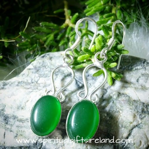 Green Onyx Earrings Sterling Silver