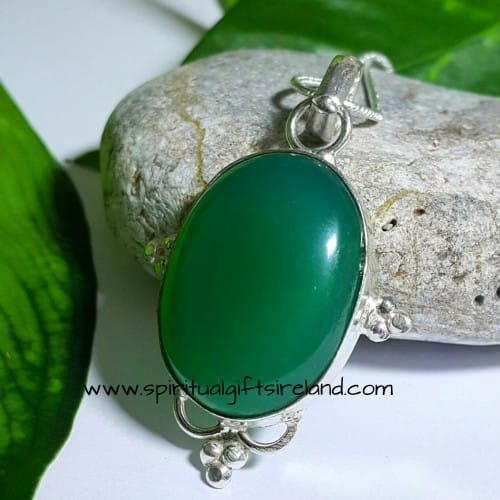 Green Onyx Necklace Sterling Silver