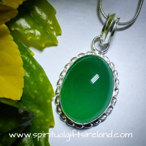 Green Onyx Sterling Silver Cabochon Pendant