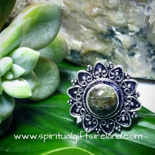 Labradorite Crystal Gemstone Flower Ring Adjustable Size