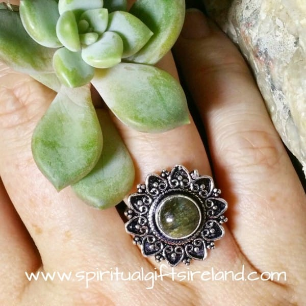 Labradorite Crystal Flower Ring Adjustable