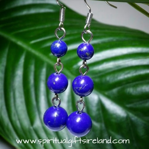 Lapis Lazuli 3 Stone Earrings Handmade