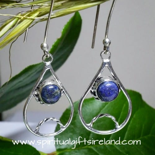 Lapis Lazuli Gemstone Crystal Earrings Sterling Silver