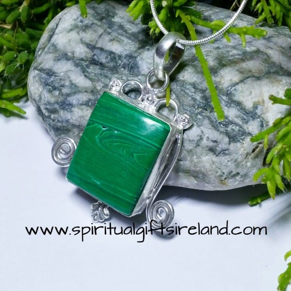 Malachite Gemstone Crystal Spiral Pendant Sterling Silver