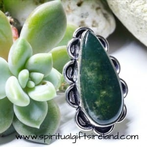 Moss Agate Harmony Gemstone Crystal Ring Sterling Silver