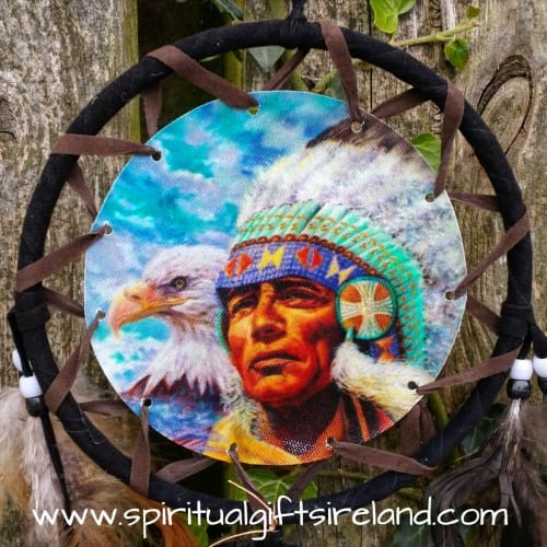 American Indian Chief Fluffy Feather Dreamcatcher