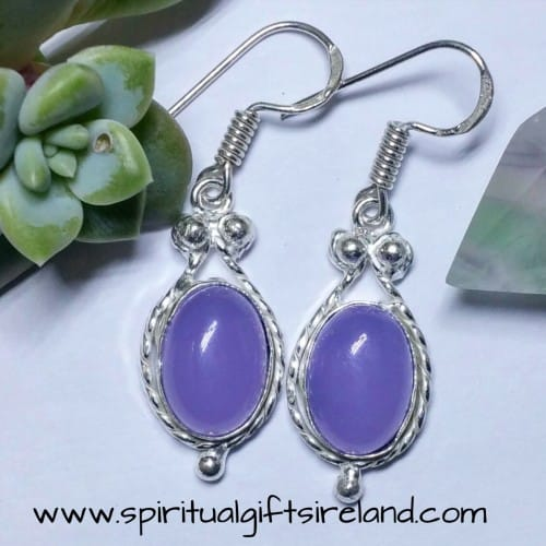 Purple Agate Gemstone Crystal Earrings Sterling Silver