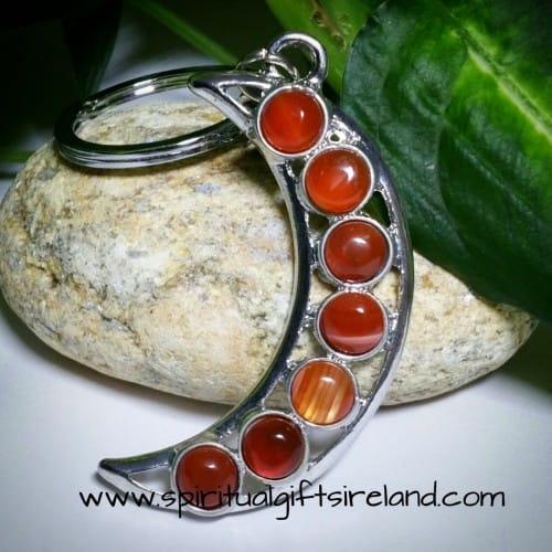 Red Agate Crystal Moon Crescent Keychain