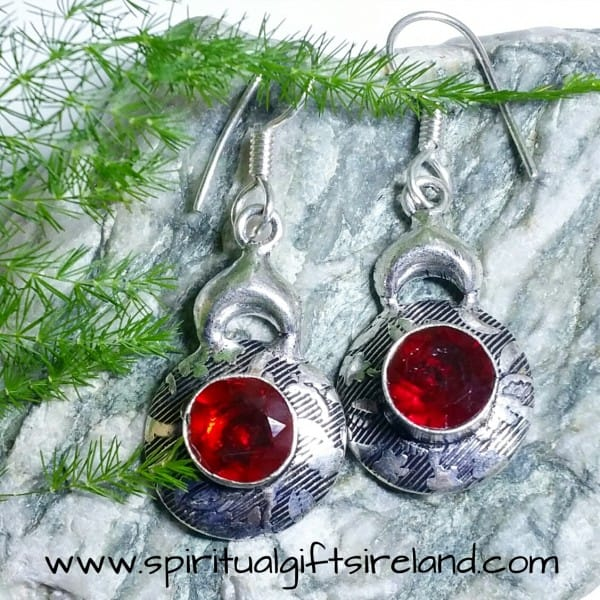 Red Garnet Mandala Earrings Sterling Silver