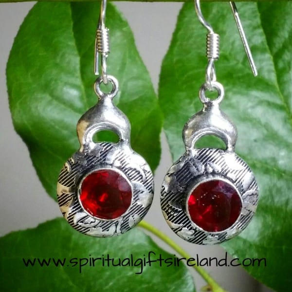 Red Garnet Earrings Sterling Silver