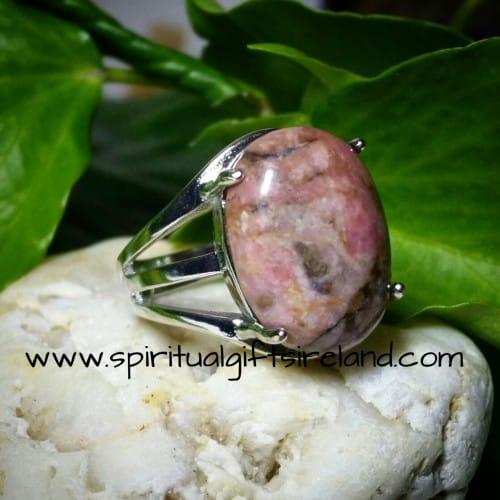 Rhodonite Heart Chakra Gemstone Crystal Adjustable Ring