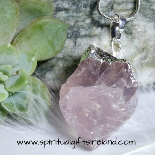 Rose Quartz Raw Mirror Reflecting Crystal Gemstone Pendant
